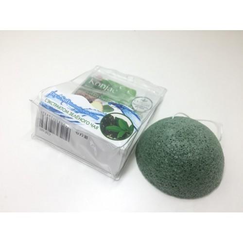 Конжаковый очищающий спонж с экстрактом зеленого чая Christian